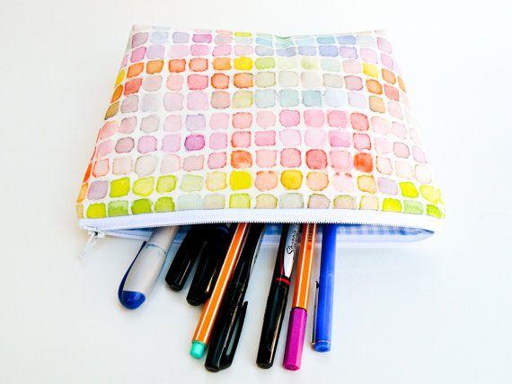 Rainbow Watercolor Makeup Bag Large Pencil Case by 162PENS