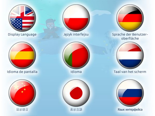 Professor Ninja German / Display Languages: You can choose between 9 display languages: English, Chinese, Spanish, Portuguese, German, Dutch, Japanese, Russian and Polish.