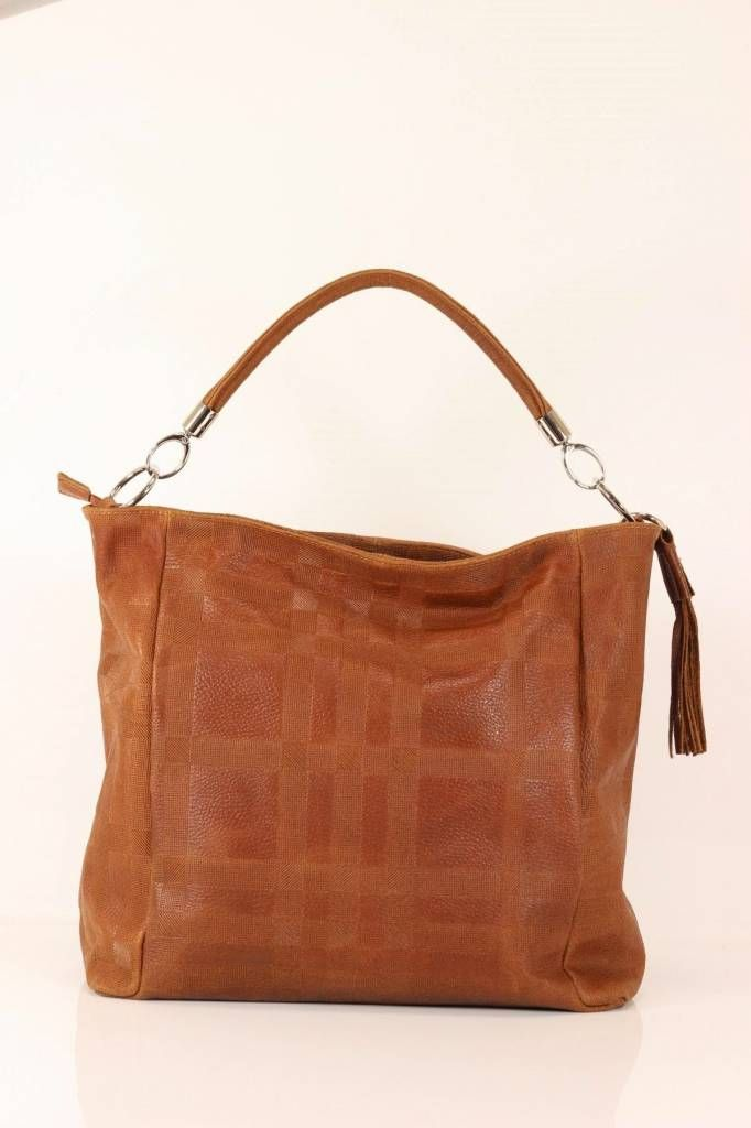 Handtassen met vierkant motief leder print in bruine kleur
