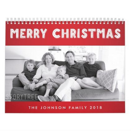Red Merry Christmas 2018 Personalized Calendars - merry christmas diy xmas present gift idea family holidays