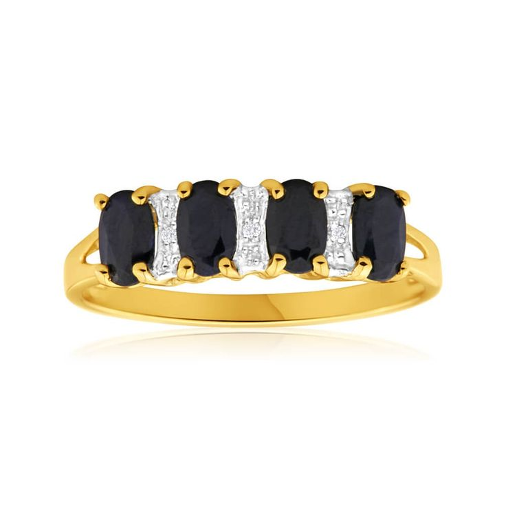 Gorgeous jewellery shouldn't just be reserved for that left hand ring finger. Try this lovely Sapphire and Diamond Ring in 9ct Yellow Gold