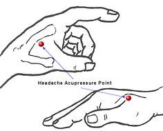 Pressure points for a headache. Press down with thumb and hold for 1 minute at a time. Headache gone!