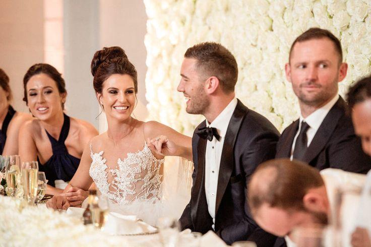 Happy Bride & Groom - A Wedding at The Joinery West End with DJ Ben Shipway // #GMEventGroup #DJBenShipway #BrisbaneWedding #WeddingDJ #FlowerWall