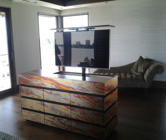 colorful tv lift unit with remote control modern tv cabinettv