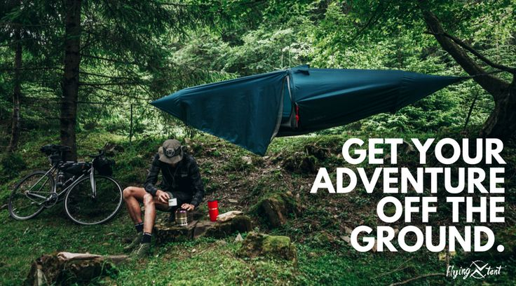 Looking for a alternative to a tent? The flying tent hammock tent packs light, sets up easy and provides a reliable, open sleeping area up off the ground with a fine mesh bug net for protection. The removable 30 DN ripstop nylon rainfly is strong and provides optimum rain protection. #adventureiscalling #hammockcamping
