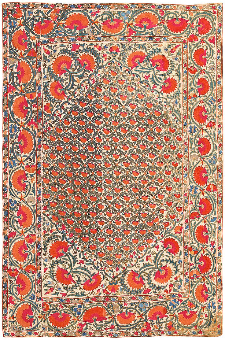 Antique Silk Uzbek Suzani Textile 48584