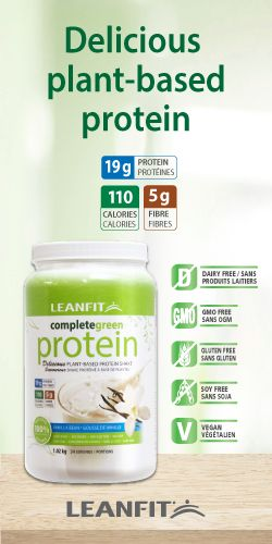 completegreen protein - a plant-based protein powder that is dairy-free, non-GMO and gluten-free. Available in vanilla bean flavour with 19 grams of protein.