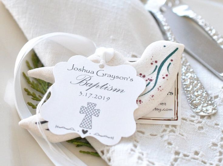 Christening Gifts Salt Dough Dove Ornaments Set of 6 Wedding Napkin Ties Baptism Favors Table Decor