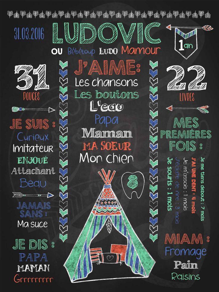 Affiche personnalisée 1er anniversaire Pow Wow! (menthe) | 28,00$ #chalkboard #lacraieco #tipi #fleche