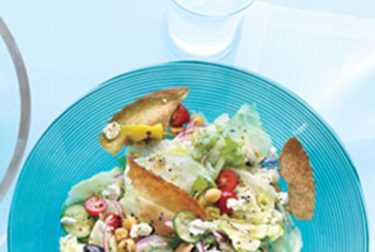 Chopped Greek Salad With Pita Chips
