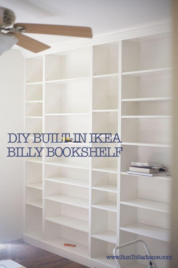 create DIY built in bookshelves using ikea billy bookcases...