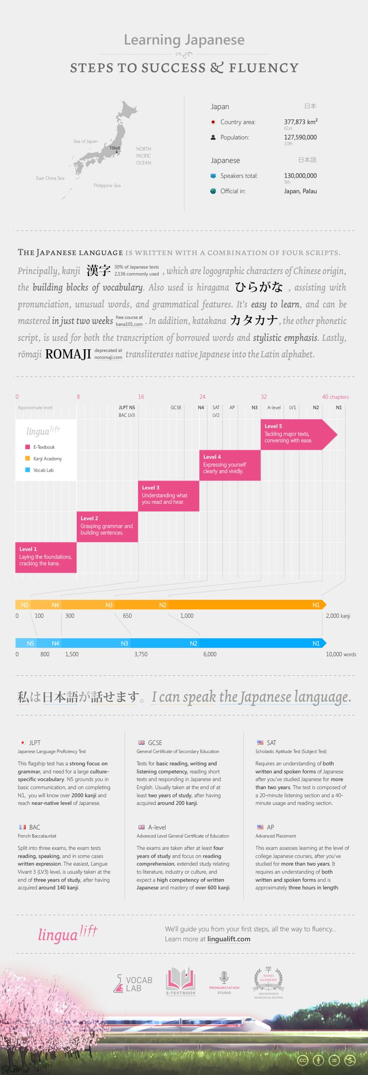 Everything you need to know about learning the Japanese language in one simple infographic.