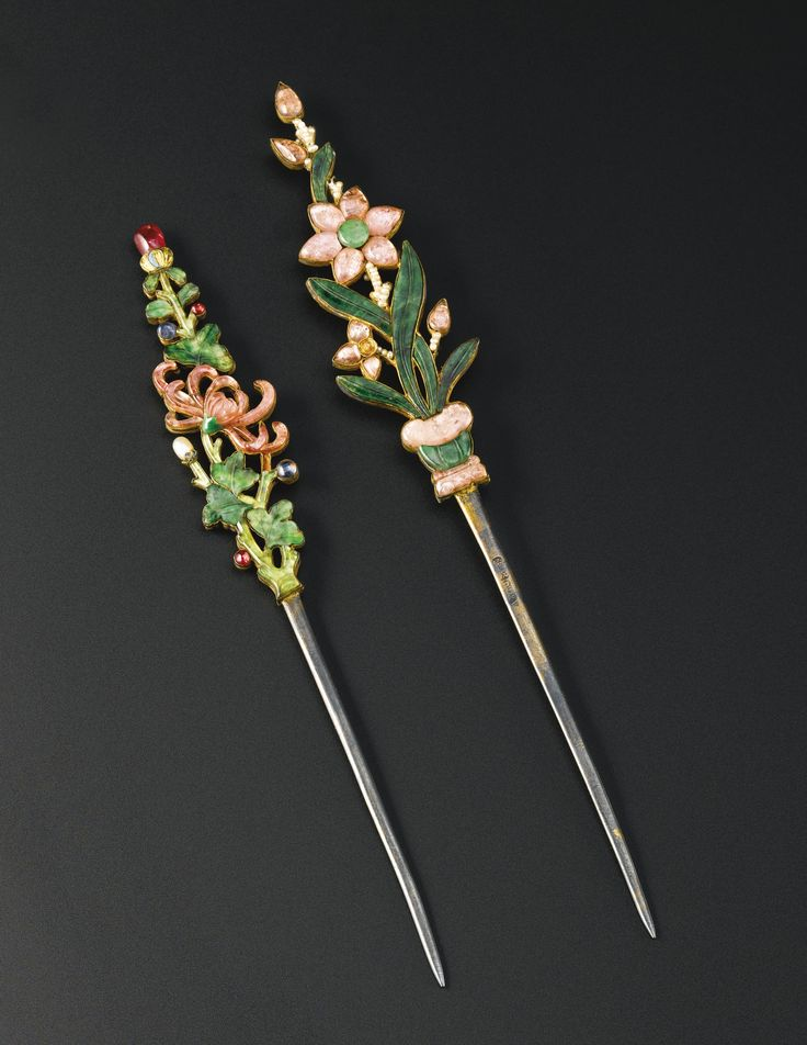 TWO HARDSTONE-INLAID SILVER FLORAL HAIRPINS QING DYNASTY, 19TH CENTURY the first a flowering potted plant, the second a spray of chrysanthemum, each inset with jadeite, rose quartz and seed pearls