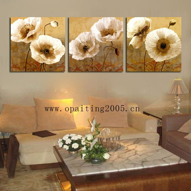 Free Shipment Hot Hand Painting Decorative Paintings 3 Piece Flowers Paintings Golden Lotus Wall Pictures Home Art $45.00