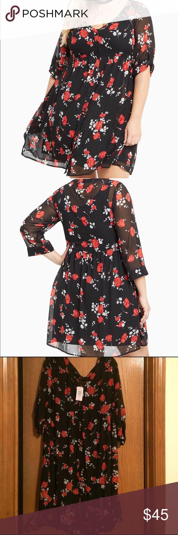 Torrid shirt dress Super cute floral print chiffon shirt dress from Torrid.  Too big on me.  Size 1 torrid Dresses Midi