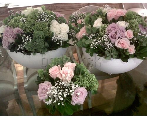 3 arreglos florales con flores rosas totalmente naturales/ Centro de mesa para boda / Fiorelle