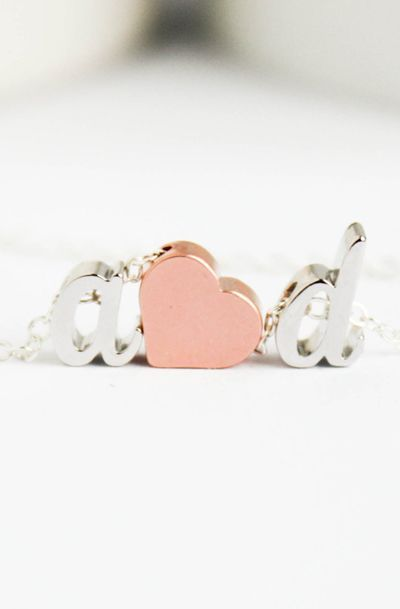 Love initial heart necklace