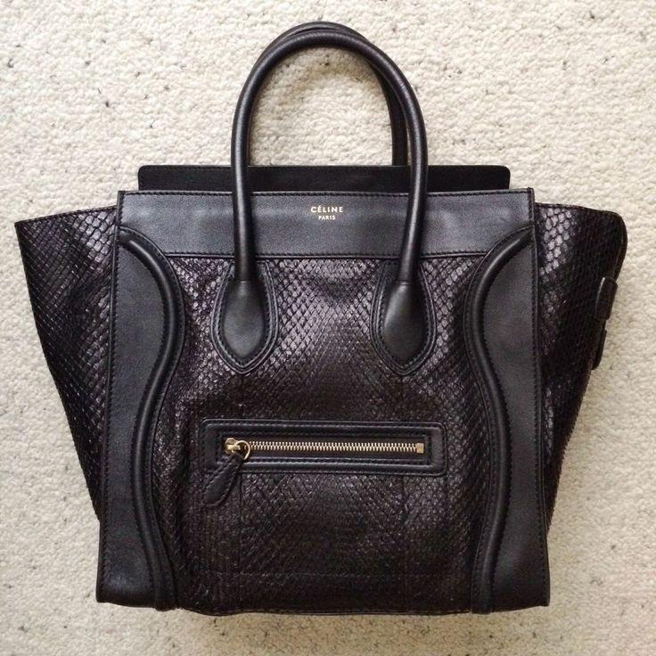 Celine black python mini bag 100% auth rare!! trapeze phantom nano ...