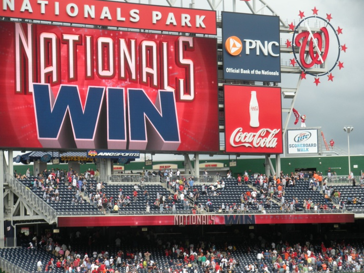 The scoreboard at Nationals Ballpark after a win.