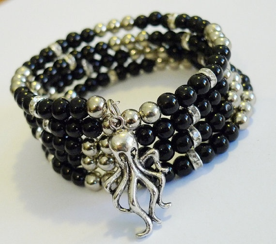 Crystal and Black Glass Memory Wire Bracelet by MyBigBrightBaubles, $15.00
