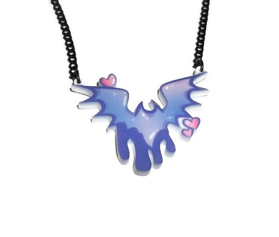 Creepy Cute Bat Necklace Pastel Goth Fairy by KitschBitchJewellery, $11.99