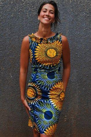 Lush! Sunflower print shift dress in 100% cotton Kitenge print fabric.