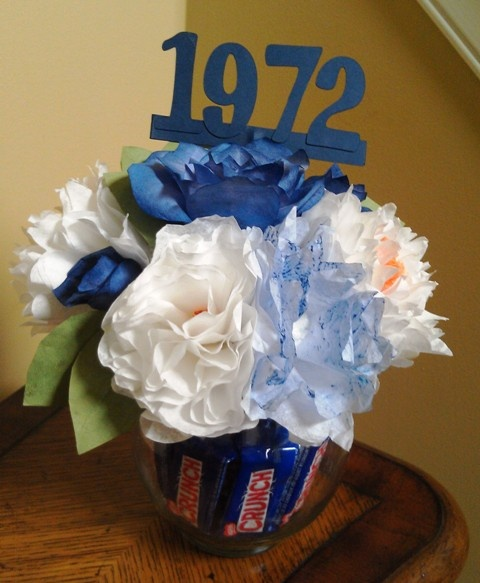 Class reunion centerpiece coffee filter flowers vase