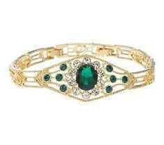 Jackie Kennedy Bracelet  Simulated Emeralds Box and COA  Sz