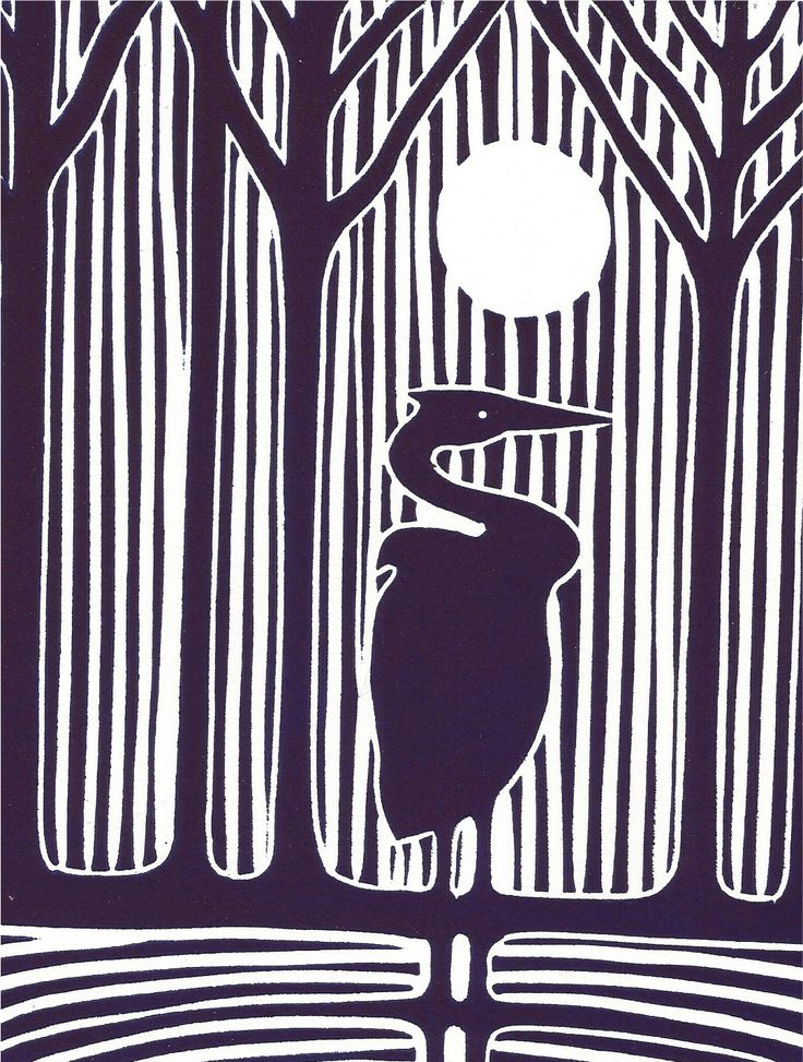 "linocut print ideas | ve been meaning to make a few more ""Night Heron"" prints for a ..."