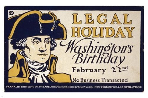 GEORGE WASHINGTON LEGAL HOLIDAY vintage ad poster HISTORIC COLLECTORS 24X36