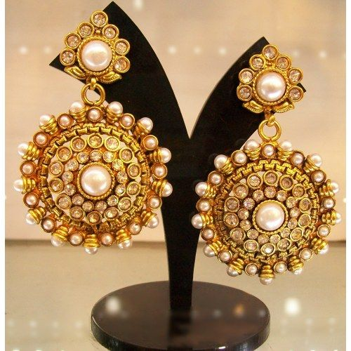 Beautiful Polki Danglers in Pearl