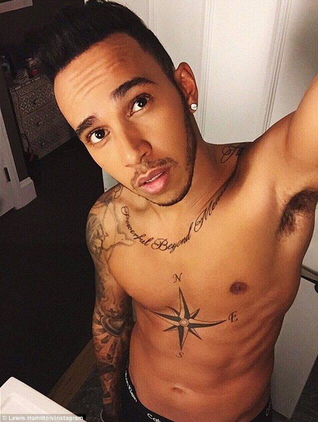 Well hello there: Lewis Hamilton has posed for a shirtless elfie, shared with his follower...