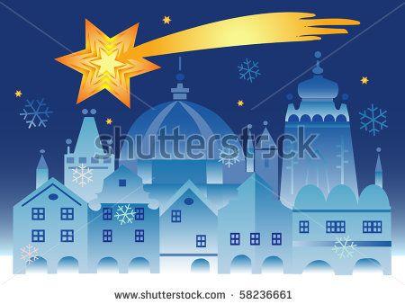 Vector illustration of historical winter town with bethlehem star . by jiris, via ShutterStock