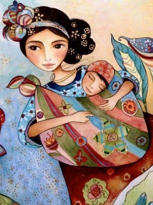 Such gorgeous artwork and I have three of her babywearing art prints hanging where I work every day - these colorful, delightful babywearing mamas make me so happy!