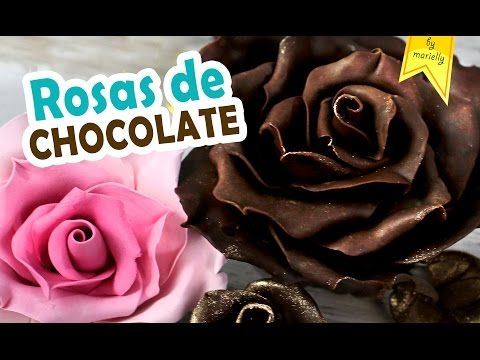 Receta de chocolate para modelar   Como hacer rosas de chocolate   Flores de chocolate paso a paso - YouTube