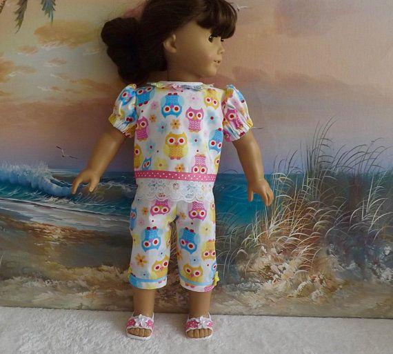 "Blue Owl Capri Pant Set Fits 18/"" American Girl Doll Clothes"