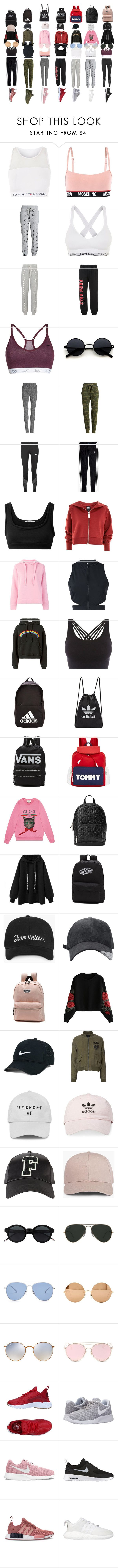 """""""training squad"""" by asimenia13 on Polyvore featuring Tommy Hilfiger, Moschino, Calvin Klein Underwear, Calvin Klein, Jonathan Simkhai, Adaptation, NIKE, Beyond Yoga, Sanctuary and Madewell"""
