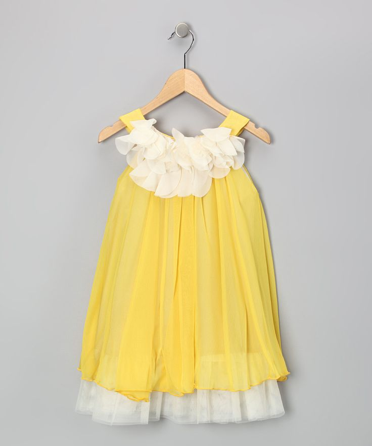 Take a look at this Yellow & White Floral Yoke Dress - Toddler & Girls on zulily today!