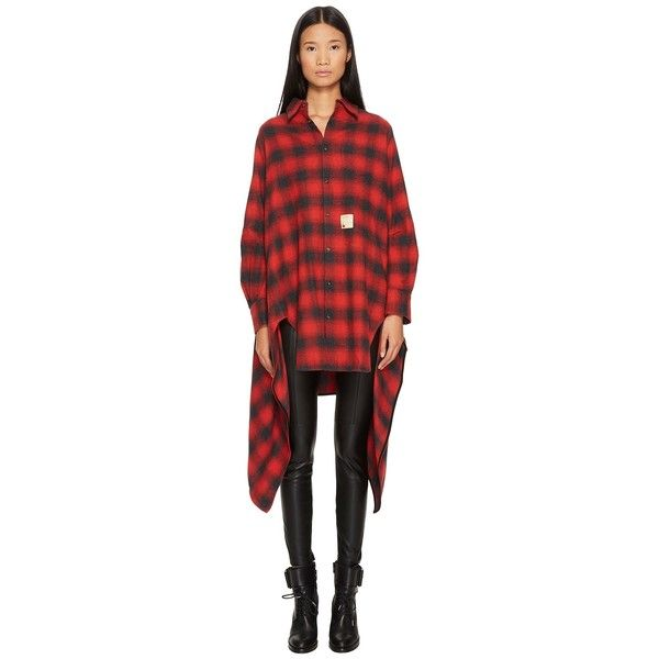 DSQUARED2 Grunge Melange Check Cotton Button Up Blanket Shirt... (52.135 RUB) ❤ liked on Polyvore featuring tops, long sleeve button up shirts, red button up shirt, cotton long sleeve tops, long sleeve tops and long-sleeve shirt