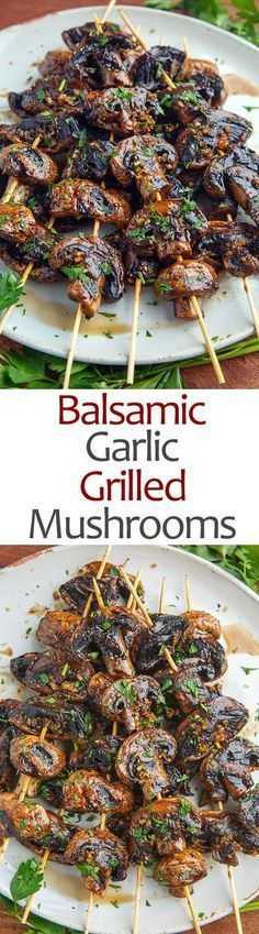 ingredients 2 pounds mushrooms, sliced 1/4 inch thick 2 tablespoons balsamic vinegar 1 tablespoon soy sauce (or tamari) 3 cloves garlic, chopped 1/2 teaspoon thyme, chopped salt and pepper to taste directions Marinate the mushrooms in the mixture of the remaining ingredients for 30 minutes. Skewer the mushrooms and grill over medium-high heat until just tender and slightly charred, about 2-3 minutes per side.