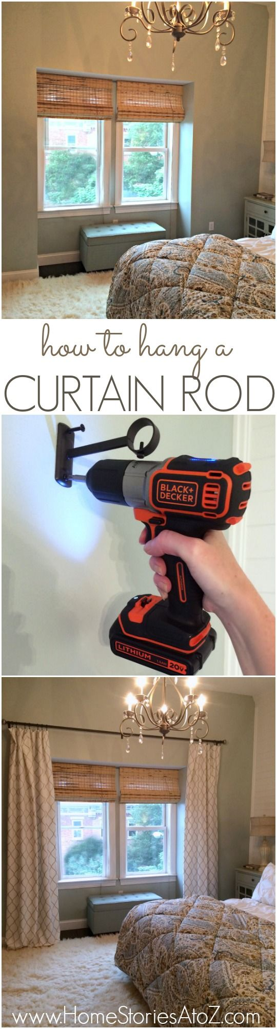 Diy copper curtain rods that wont break the bank diy how to window - How To Hang A Curtain Rod And Black Decker Drill Giveaway