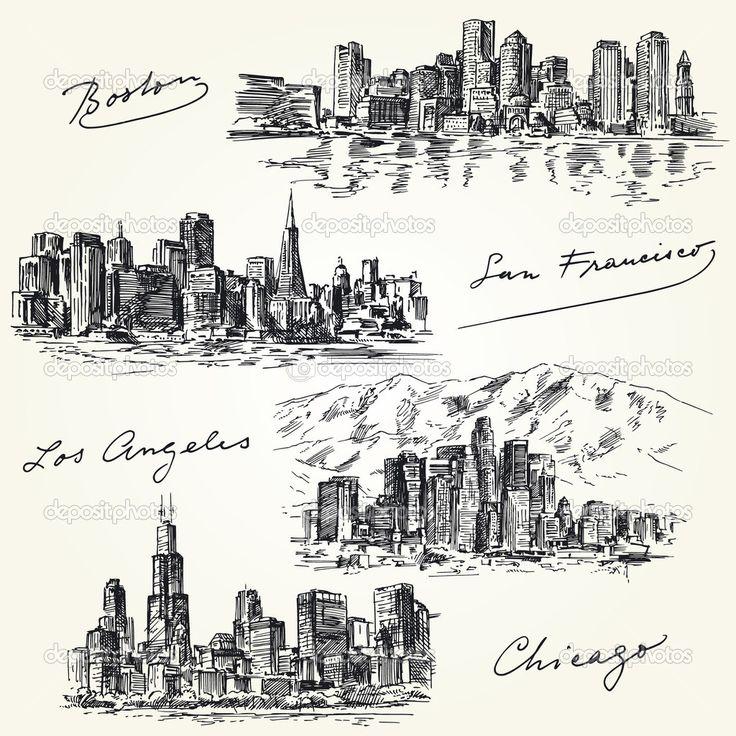 Фотообои Силуэты городов Америки - рука нарисованные набор
