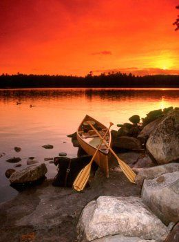 Canoe at Sunset #sunset #Minnesota......I MUST PLAN MY TRIP HERE TO SEE MY DEAR FRIEND MEG& HER FAMILY!!!!!!!!!!.....BEAUTIFUL SETTING!