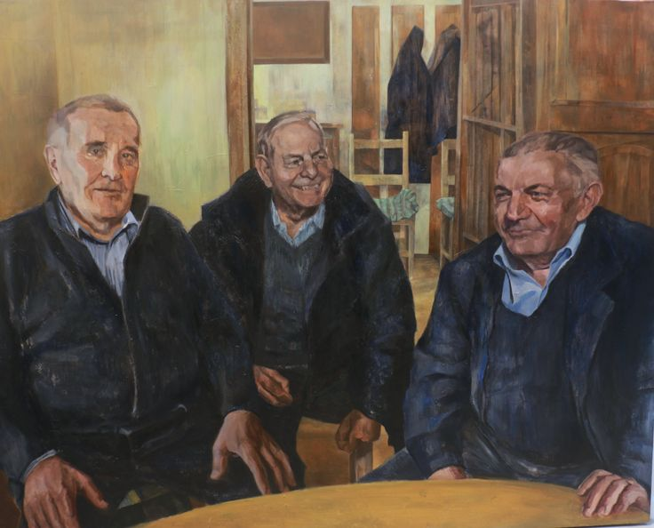 After the funeral, Oil on Board, 100 x 124 cm