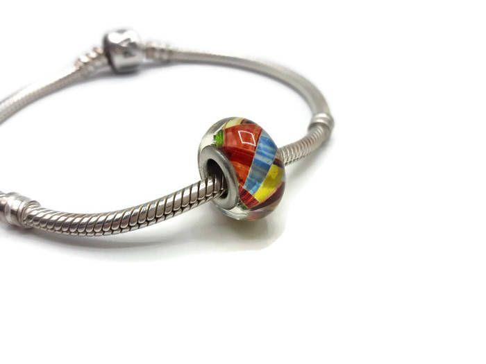 Perle charms en verre Murano . Perle compatible bracelet style Pandora - Grand Trou 6 mm -  Ref A025 de la boutique DIYAxellecreations sur Etsy