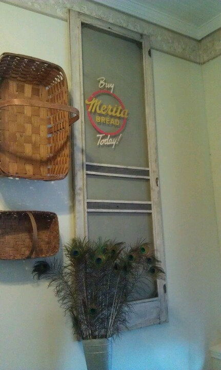 Old painted screen door on the office wall of my client.