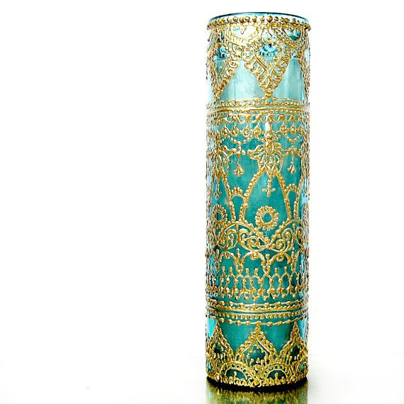 Intricately Designed Hand Painted and Poured Tall by LITdecor,