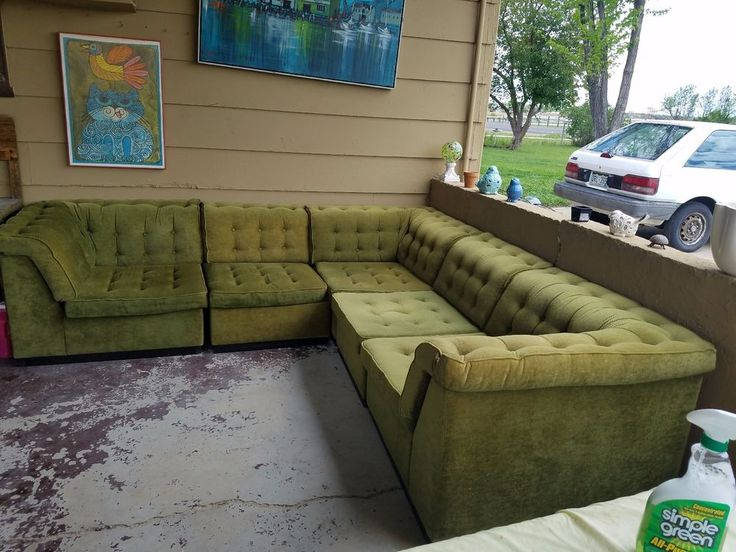 Vintage Green Sectional Sofa Made in Denmark Mid Century Decor : green sectional couch - Sectionals, Sofas & Couches