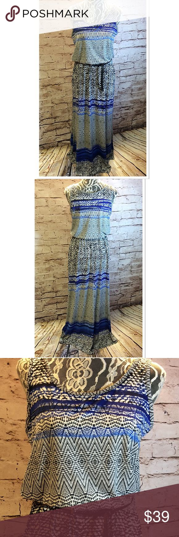 GORGEOUS AZTEC MAXI DRESS BY FEVER Beautiful maxi dress with contrast black woven waist belt. NWOT blue/white/black. 2 side slits that strike just at the knee Fever Dresses Maxi