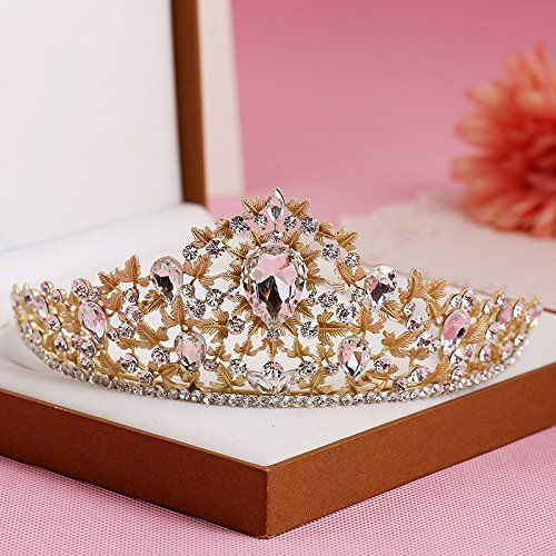 FUMUD Fashion Bride Crown Marriage Accessories Formal Dress Gold Green Rhinestone Queen Hair Accessory >>> Continue to the product at the image link.(This is an Amazon affiliate link and I receive a commission for the sales)